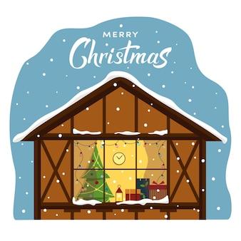 Finestra di natale con luci; stanza di natale con albero di natale e lampada, regali.
