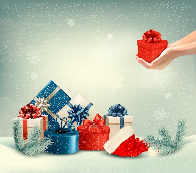 Sfondo invernale di natale con regali.