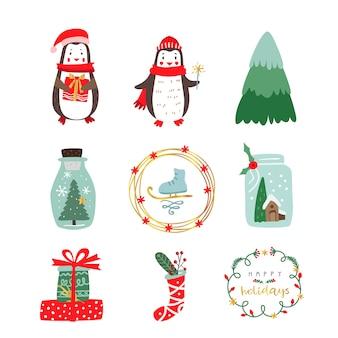 Personaggi e oggetti natalizi invernali.