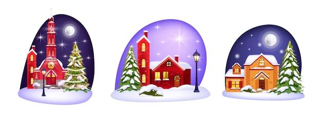 Collezione invernale natalizia con case, neve, chiesa, lampioni. stagione delle vacanze con alberi