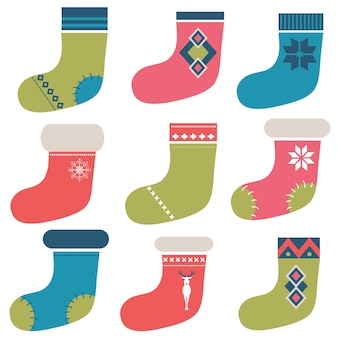 Calzini colorati invernali di natale Vettore Premium