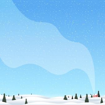 Paesaggio di campagna invernale di natale con pini e illustrazione di casa
