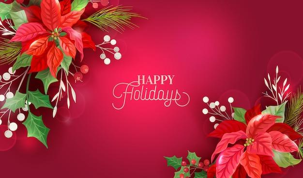 Natale inverno disegno floreale, sfondo poinsettia, vettore fiori invito, modello di banner di saluto festa di festa, bacche di agrifoglio, cornice di illustrazione di vischio, volantino di capodanno 2021, copertina