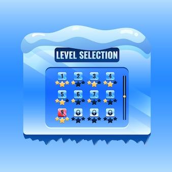 Interfaccia di selezione del livello dell'interfaccia utente di gioco invernale di natale per elementi di asset gui