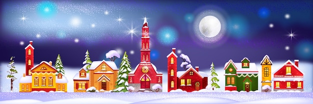 Illustrazione di case di vacanze invernali di natale con villaggio notturno in cumuli di neve, alberi di pino, luna
