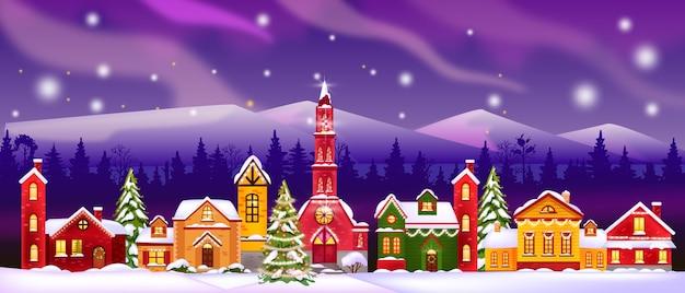 Illustrazione di case di inverno di natale con chiesa, facciate decorate, silhouette di foresta, cielo