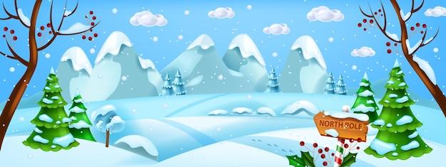 Natale inverno paesaggio vettore natale neve sfondo polo nord bosco vista orizzontale