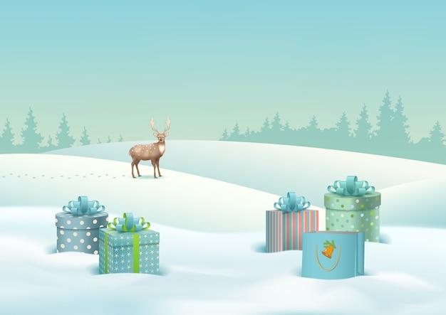 Paesaggio invernale di natale con regali di natale e un cervo