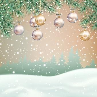 Paesaggio invernale di natale con rami di albero di natale e decorazioni