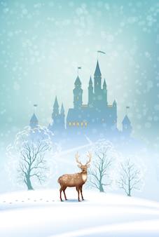 Paesaggio invernale di natale con silhouette di castello da favola