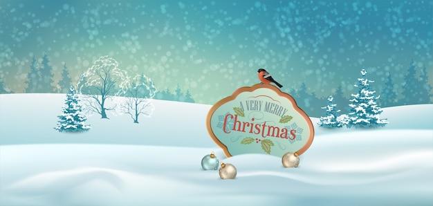 Paesaggio invernale di natale con cartello in legno e un uccello
