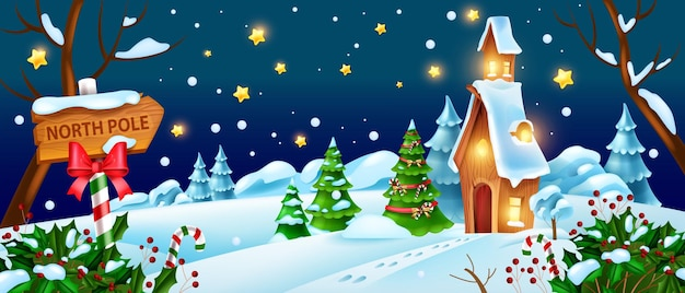 Natale, inverno, notte, paesaggio, vettore, babbo natale, casa, illustrazione, natale, vacanza, bosco, vista