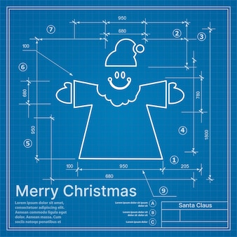 Progetto di inverno di natale babbo natale sulla cartolina di schizzo del nuovo anno blu