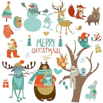 Set invernale natalizio con simpatici animali selvatici
