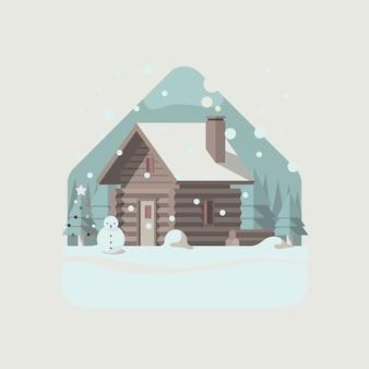 Capanna di inverno di natale nella neve invernale con alberi di montagna e pini come sfondo