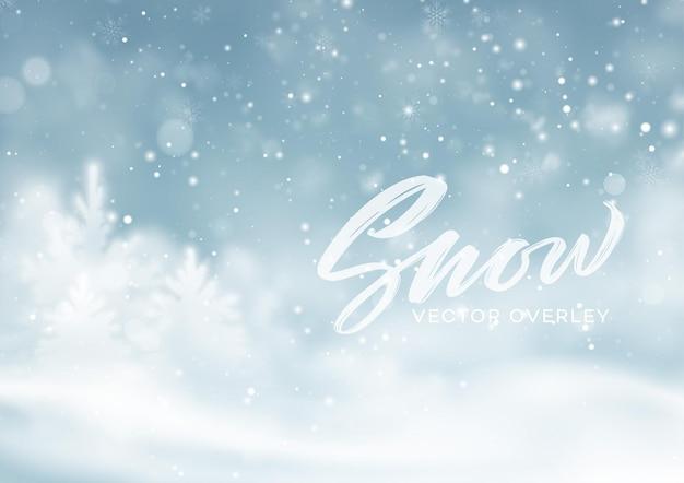 Fondo del paesaggio innevato di inverno di natale. sfondo di polvere di neve invernale. illustrazione vettoriale eps10