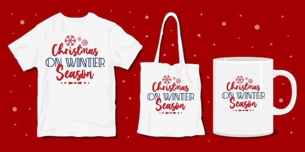 Design della merce della maglietta invernale di natale