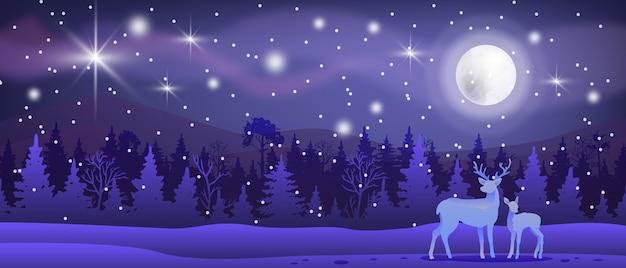 Paesaggio del nord di vettore di inverno di natale con neve, foresta, renne, luna, cielo notturno, stelle