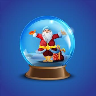 Accumulazione della palla di neve di vettore di inverno di natale con babbo natale decorato