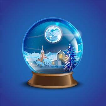 Palla di neve di natale inverno vettoriale con case del villaggio decorate, alberi di pino e luna