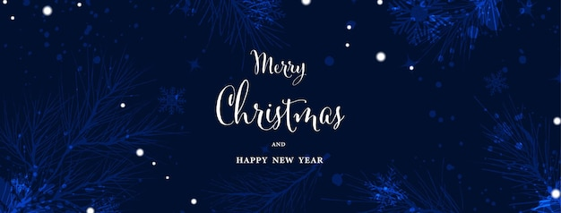 Natale e inverno acquerello arte astratta su sfondo blu. rami di pino sulla neve che cade con acquerello dipinto a mano. adatto per la progettazione di intestazioni, banner, copertine, web, carte o decorazioni murali.