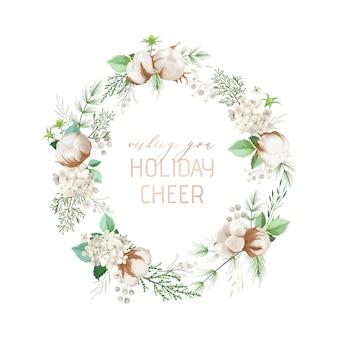 Ghirlanda invernale natalizia, pino verde, fiori di cotone, bacche di agrifoglio. modello di biglietto di auguri di design per le vacanze di natale. illustrazione vettoriale per banner, flyer, copertina. illustrazione floreale vettoriale