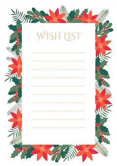 Lista dei desideri di natale con cornice decorativa di foglie e fiori d'inverno.