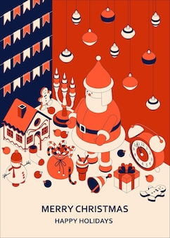 Natale con simpatici giocattoli isometrici. babbo natale divertente e casa di marzapane. saluto di natale