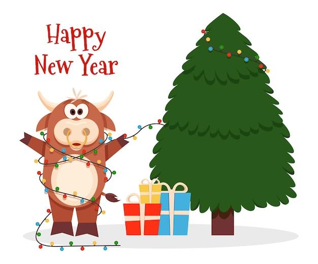 Natale con bue cartolina d'auguri di felice anno nuovo