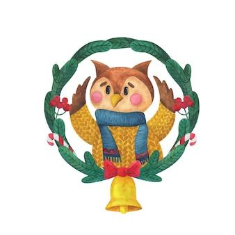 Ghirlanda di natale di rami di abete con un gufo. nuovo anno. stampa festiva con un uccello.