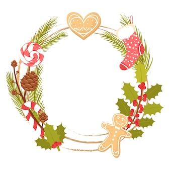 Cornice di ghirlande natalizie per biglietti di auguri decor con rami sempreverdi calzino di biscotti allo zenzero di agrifoglio
