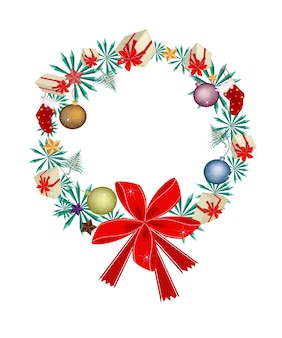 Corona di natale con ornamenti natalizi e fiocco rosso