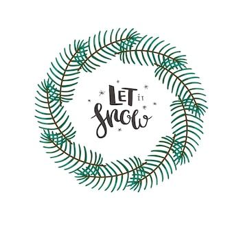 Corona di natale con rami di conifere e lettere disegnate a mano vettore di cartolina di natale minimalista