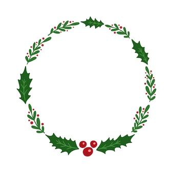 Ghirlanda natalizia con vischio ed elementi floreali.