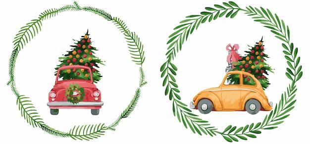 Composizione natalizia con automobili e rami di eucalipto