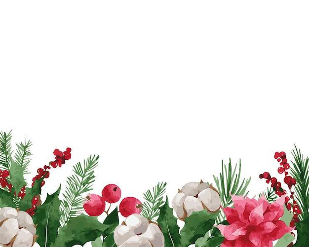 Ghirlanda di natale con abete rosso Vettore Premium