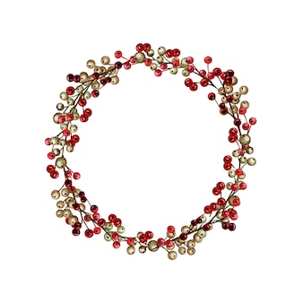 Ghirlanda di natale con bacche di oro rosso inverno. illustrazione dell'acquerello di vacanza