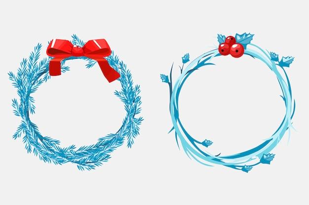 Ghirlande natalizie di rami di pino, decorate con un nastro rosso e bacche. illustrazione del fumetto. oggetti su un livello separato.