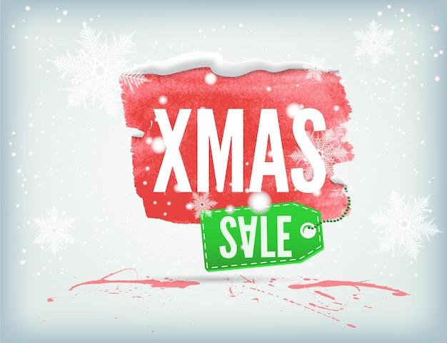 Striscione natalizio color inchiostro con cartellino per lo shopping e fiocchi di neve