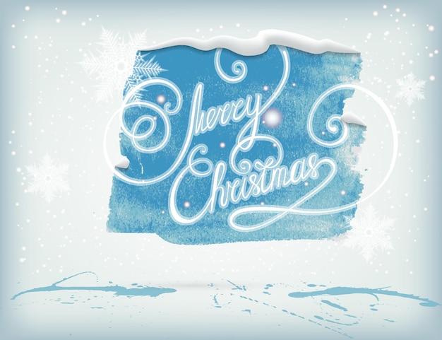 Banner acquerello natalizio con fiocchi di neve e ghette d'inchiostro