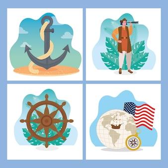 Timone di ancoraggio del fumetto di cristoforo colombo e design del mondo di happy columbus day america e tema di scoperta