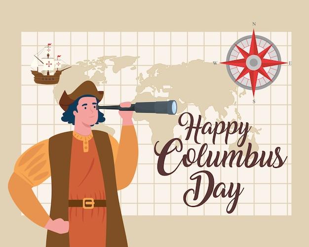 Fumetto di cristoforo colombo con il design del telescopio di happy columbus day america e tema di scoperta