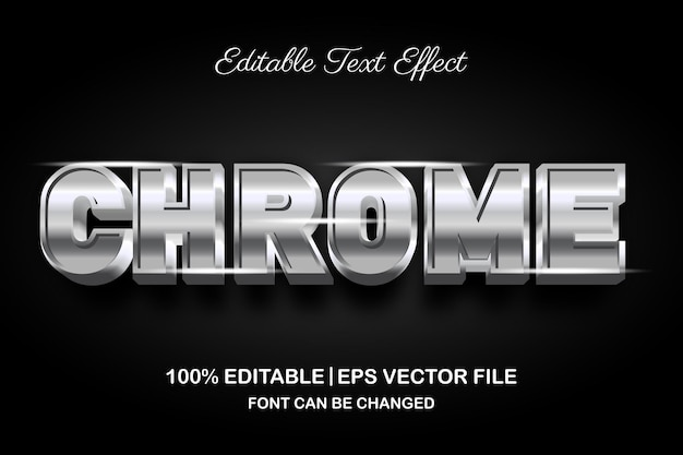 Effetto di testo modificabile 3d di chrome