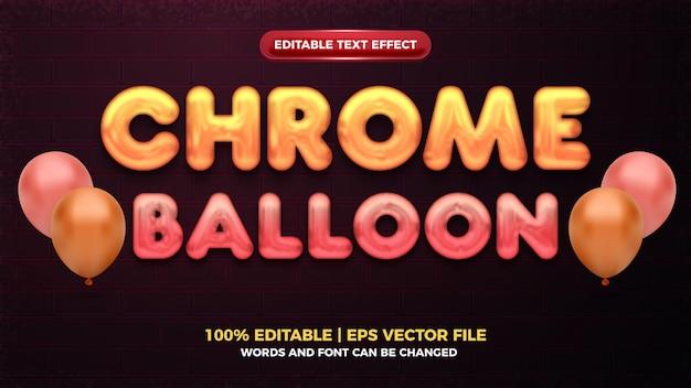 Effetto di testo modificabile in grassetto 3d con palloncino cromato