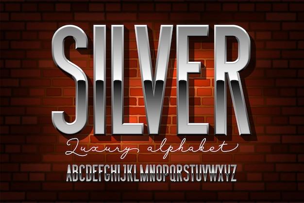 Alfabeto moderno condensato cromato. carattere in metallo sans serif. tecnologia tipografia lettere d'argento.