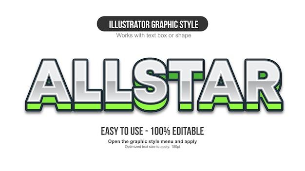Tipografia sportiva maiuscola 3d cromata e verde