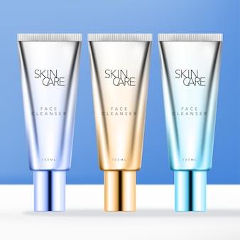 Tubo per prodotti di bellezza in metallo cromato o argento con effetto colore sfumato.