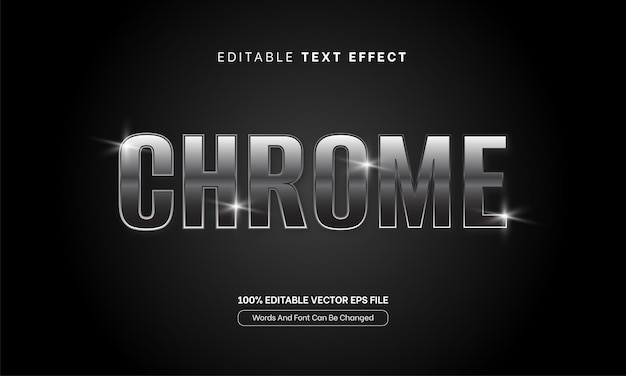 Argento cromato effetto testo parole font modificabile effetto testo metallo argento