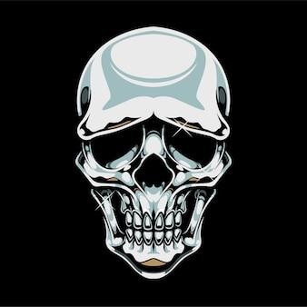 Cranio cromato isolato sul nero