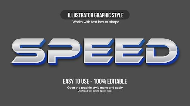 Tipografia 3d blu sportiva cromata